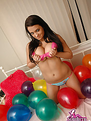 Brookes showing off her balloons!
