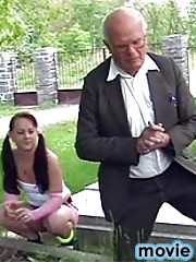 Grandpa has sex with a brunette after a funeral of a friend