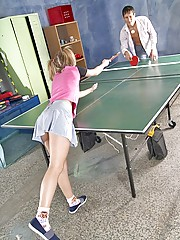 Horny pigtailed girl plays table tennis and gets fucked