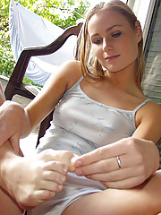 Perfect young lady gets naked outdoors