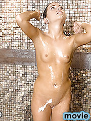 Check out Brandi as she call a friend for some hot shower action. Rub a dub dub on that cock is more like it.