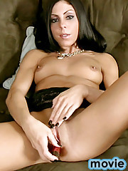 Nubile Ellington fucks her pussy with a red vibrator
