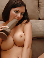 Horny Kalee shows off her cock sucking skills with her new favorite toy