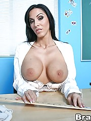 Veronica Rayne fucks three of her biggest cocked students