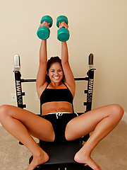 Cute Shyla Jennings starts stripping while she works out
