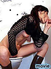 Brunette sucking and a fucking a strangers gloryhole cock