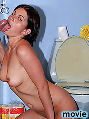Amateur is having her first gloryhole experience at toilet