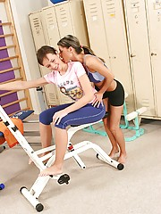 Two cute lesbian teenie girls doing a sexy workout together