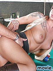 Chase Evans is the hottest waitress at the bar and Keiran wants to fuck her really bad. He offers her to teach her how to play pool. When Chase bends over to shoot, she feels Kieran's big cock and gets so horny she fucks him right there on the pool table.