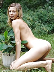 Cute teen brooke sits outside with a fuckin houseplant and gets nice and naked her tits are amazing