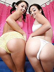 Slutty teens Sandy and Jessica stip tease and blow job