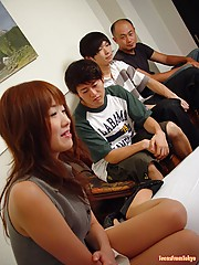 Four japanese guys fucking a teen and rewarding her with cum