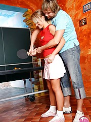 Pingpong playing teenie girl giving a good sloppy blowjob