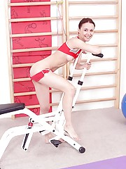 Hot teenage girl doing a very special workout in the nude