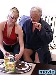 Blonde stocking beauty fucked by older man his erect cock