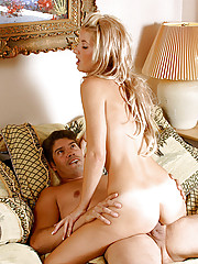 Long blonde haired Tiacox got to taste a huge cock and gently plays it with her tongue