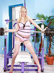 Blonde stocking teen working out with her big favorite dildo