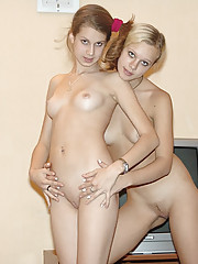 Cute lovely teenies try out lesbian sex