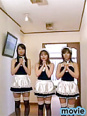 Three wet Japanese maids giving some extra hand service