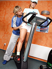 Cute blonde teen gets her tight asshole fucked in the gym