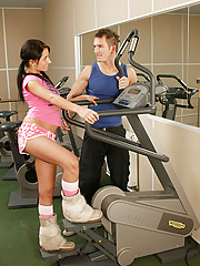 Brunette teenager gets fucked by her fitness instructor
