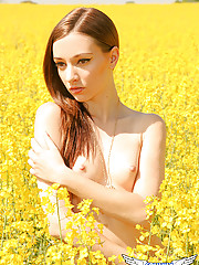 Honey shows off her perky perfect tits in a field of flowers