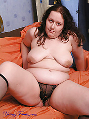 Plump in black transparent panties