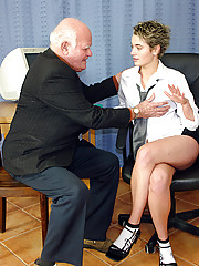 Teen office chick pleases a senior his tiny erected penis