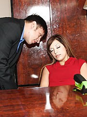 Sexy office girl falls asleep but doesn't mind being violated anyhow!