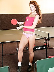 Horny teen masturbating her wet snatch on a pingpong table