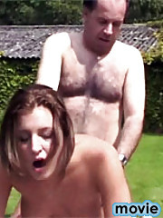 Gorgeous girl in nasty hardcore action with a really old man