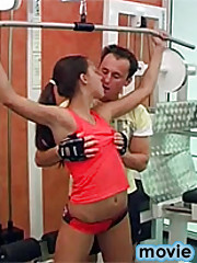 Very sexy teenager fucking the trainer at the gym hardcore