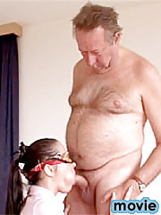 Blindfolded babe gets senior cock inside her tight twat