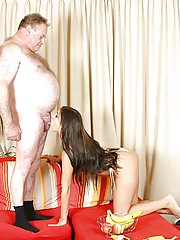 Brunette old man fucking a beautiful brunette babe wild