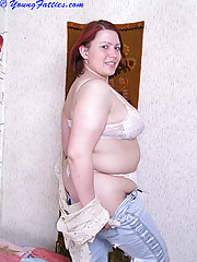Beautiful young chubby getting naked