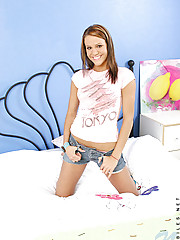 Awesome set of addison rolling around on the bed peeling off her jeanshorts and top