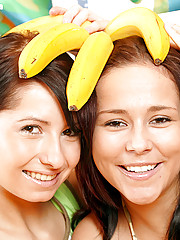 Naughty teenage girlies having fun with some big bananas