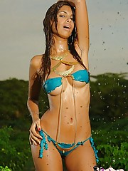 Karla gets all wet in the amazon