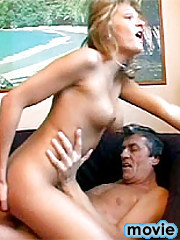 Teenage blonde enjoys a thick load of senior cum on her face