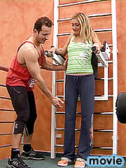 Horny fitness instructor blows his spunky load to early