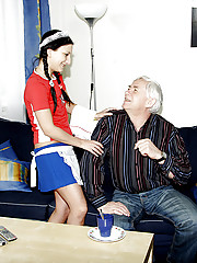 Horny old man seduces his teen maid into sexual adventure