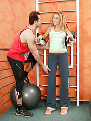 Naughty blonde teenager gets dirty in the gym as workout