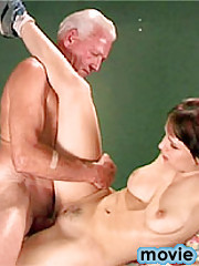 Horny senior boinking a brunette cutie after a game of cards