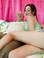 Check this sick slut out! She fucks and sucks totally old dude
