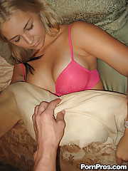 Hot blonde gets a visit from hard cock while she sleeps