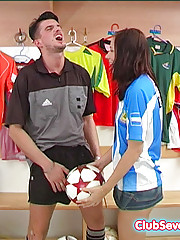 This pretty teen spreads her pussy for the referees big cock