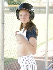 Jules may be shy but she aint that shy watch her flash her boobies out on the field in full baseball gear