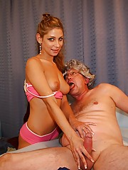 Teenie nurse giving a horny grandpa a happy ending massage