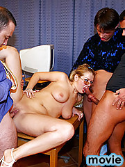Three horny guys cumming all over her golden spectacles