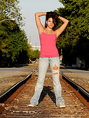 Watch as Shyla Jennings is out flashing her perky tits on the train tracks